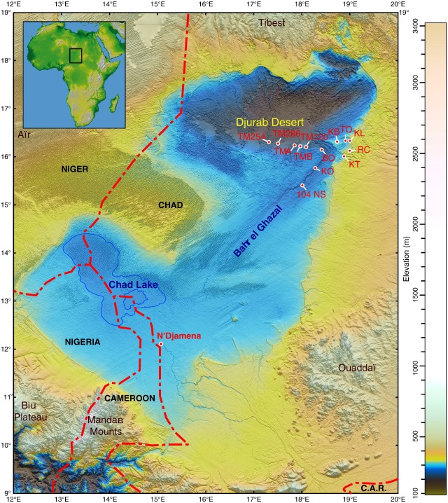 "Chadian Basin: The blue outlines the rough shape and size of Megachad. Note that KT 12/ H1 was uncovered at the site indicated as ""KT""."
